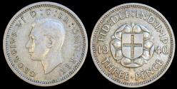 World Coins - 1940 Great Britain 3 Pence - George VI - AU