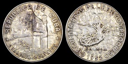 "World Coins - 1952 Cuba 40 Centavos ""50th Year of the Republic"" Silver Commemorative AU"