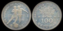 "World Coins - 1986 Portugal 100 Escudos - ""World Cup Soccer - Mexico 1986"" Silver Commemorative Proof"