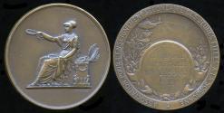 World Coins - 1913  France - Sorbonne Secondary Girl's Prize medal for Astronomy (Miss H. De Bon) by Nicolas Guy Antoine Brenet.