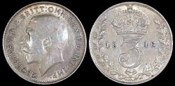 World Coins - 1916 Great Britain 3 Pence - George V - AU