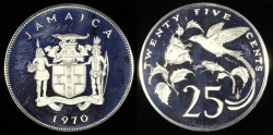 World Coins - 1970 FmP Jamaica 25 Cents - Elizabeth II - Streamer Tailed Hummingbird - Cameo Proof