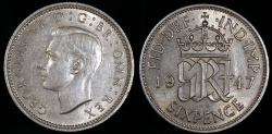 World Coins - 1947 Great Britain 6 Pence - George VI - UNC