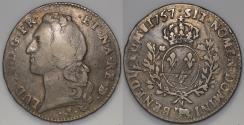 World Coins - 1757 France 1 Ecu - Louis XV - Pau Mint - F