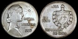 "World Coins - 1939 Cuba 1 Peso ""ABC"" AU"