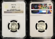Us Coins - 1943 P Jefferson Nickel (Silver) NGC MS65