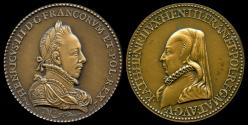 World Coins - 1582 France – King Henry III Valois and Catherine de Medici Laudatory Medal by Claude de Hery and Guillaume Martin