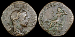 Ancient Coins - Severus Alexander Sestertius - PONTIF MAX TR P II COS P P S C - Rome Mint