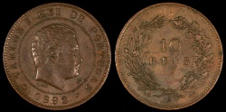 World Coins - 1892 Portugal 10 Reis - Carlos I - AU