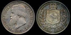 World Coins - 1887 Brazil 2000 Reis - Petrus II - AU Silver