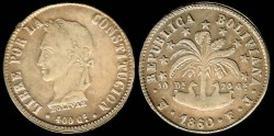 World Coins - 1860 FJ-PTS Bolivia 8 Soles AU