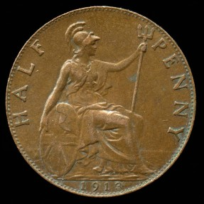 World Coins - 1913 Great Britain 1/2 Penny AU