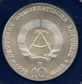 World Coins - 1975 German Democratic Republic 10 Mark - Centenary of the Birth of Albert Schweitzer Silver Commemorative ANACS MS67