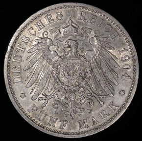 World Coins - 1904 D Germany - Bavaria 5 Mark - Otto Koenig - AU Silver