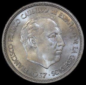 World Coins - 1957 (58) Spain 25 Pesetas - Francisco Franco - UNC