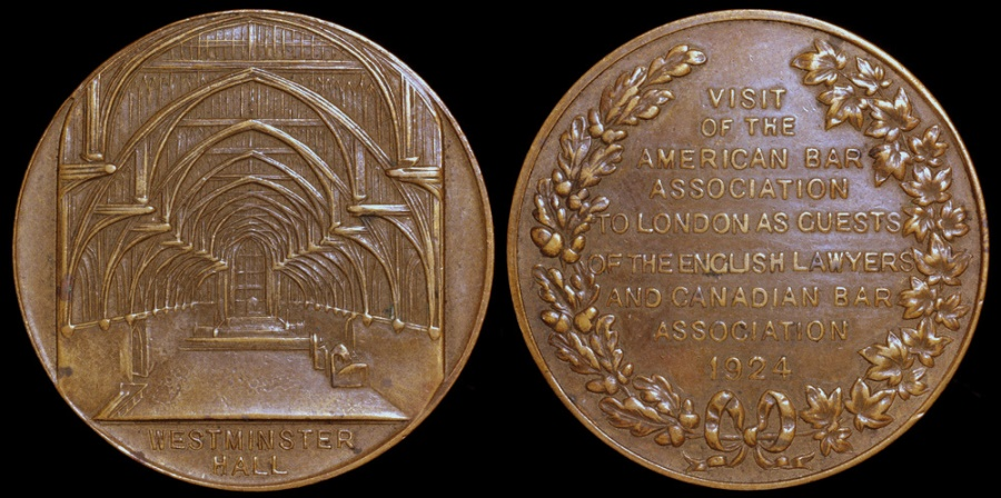 World Coins - 1924  Great Britain - American Bar Association London Meeting Commemorative Medal