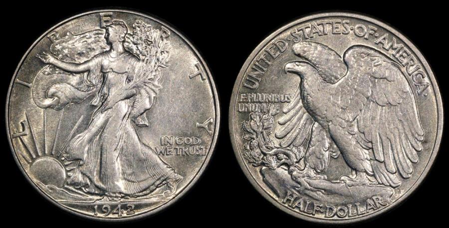 US Coins - 1942 P Walking Liberty Half Dollar BU