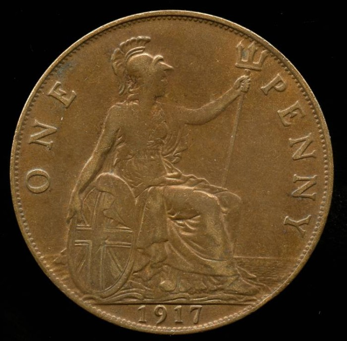 1917 Great Britain 1 Penny Xf European Coins