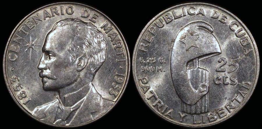 "World Coins - 1953 Cuba 25 Centavos ""Birth of Jose Marti Centennial"" Silver Commemorative UNC"
