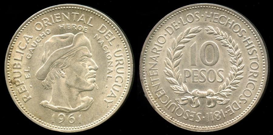 World Coins - 1961 (L) Uruguay 10 Pesos - Sesquicentennial of Revolution Against Spain - Silver Commemorative BU