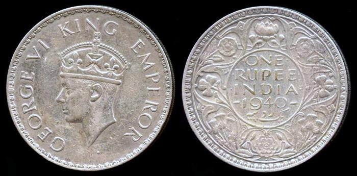 World Coins - 1940 (b) India (British) 1 Rupee AU