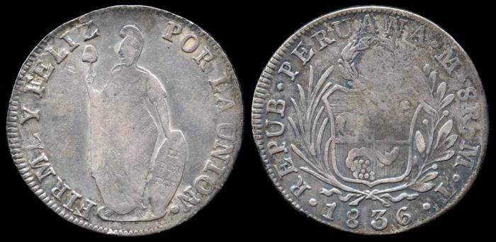 World Coins - 1836 MT Peru 8 Real VF