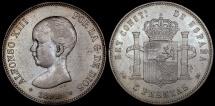 World Coins - 1891 (91) PG-M Spain 5 Pesetas - Alfonso XIII - AU