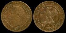 World Coins - 1857 W France 2 Centimes AU