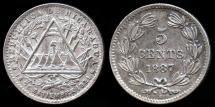 World Coins - 1887 H Nicaragua 5 Centavos AU