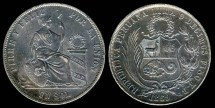 World Coins - 1869 YB Peru 1 Sol AU
