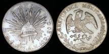 World Coins - 1895 MoAM Mexico 8 Real - Mexico City Mint - AU Silver