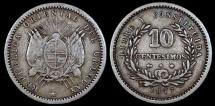 World Coins - 1877 A Uruguay 10 Centesimos - Decimal Coinage - VF Silver