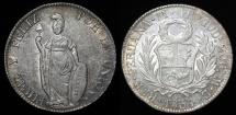 World Coins - 1854 LIMA-MB Peru 4 Real AU