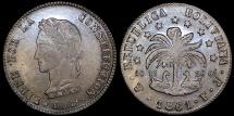 World Coins - 1861 PTS-FJ Bolivia 8 Soles - Simon Bolivar - AU