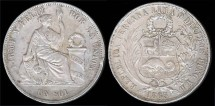 World Coins - 1865-55 Y.B Peru 1 Sol XF