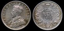 World Coins - 1917 (c) India (British) 1 Rupee AU
