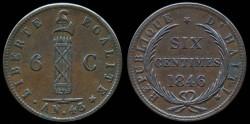World Coins - 1846 Haiti 6 Centimes (AN43) AU