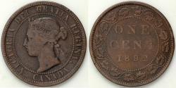 World Coins - 1892 Canada 1 Cent - Victoria - VF