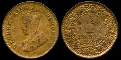 World Coins - 1924 India (British) 1/12 Anna AU