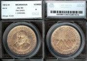 World Coins - 1912 H Nicaragua 1 Cordoba SEGS AU50