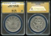 World Coins - 1887 MoMH Mexico (Mexico City) 8 Reales ANACS AU55