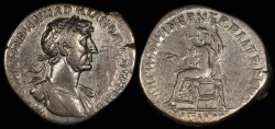Ancient Coins - Hadrian Denarius - PARTHIC DIVI TRAIAN AVG F PM TR P COS P P - Rome Mint