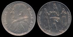 World Coins - 1968 Vatican 100 Lire - Pope Paul VI - FAO Coin - BU