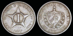 World Coins - 1916 Cuba 1 Centavo - 1st Republic - XF