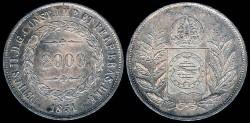 World Coins - 1851 Brazil 2000 Reis - Petrus II - AU Silver