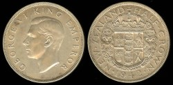 World Coins - 1942 New Zealand 1/2 Crown UNC