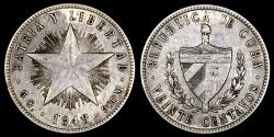 World Coins - 1948 Cuba 20 Centavos XF