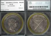 World Coins - 1816 Bavaria Thaler (Krone) SEGS AU50
