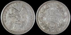 World Coins - 1933 Chile 1 Peso AU