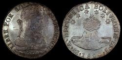 World Coins - 1829 PTS-JM Bolivia 8 Soles AU